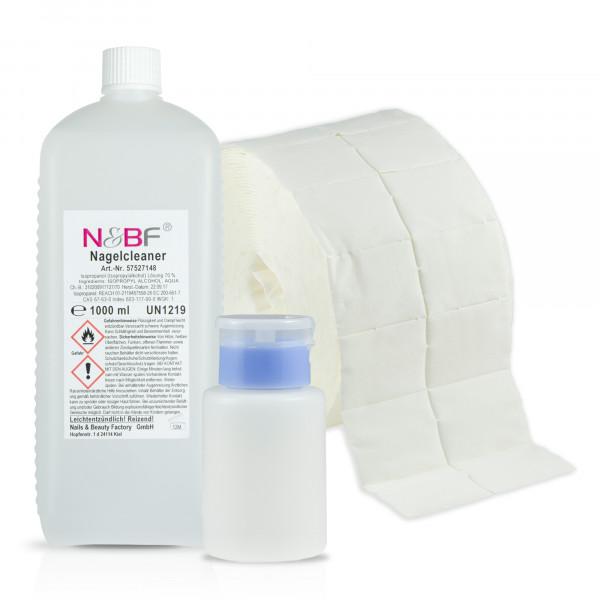 N&BF Nagel Cleaner 1000ml+Zelletten (2x500 Tupfer) & Dispenser