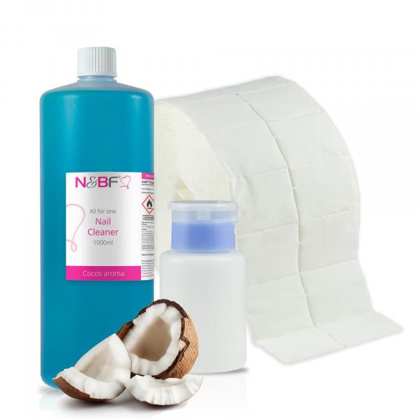N&BF Nagel Cleaner all for one Cocos 1000ml + Zelletten & Dispenser