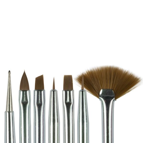 Nails Factory Nailart Pinsel Weiß Pinker Griff 7er Set Köpfe
