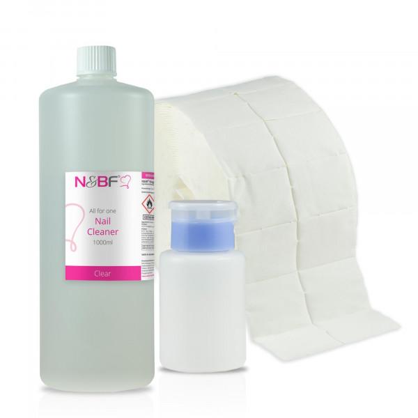 N&BF Nagel Cleaner all for one klar 1000ml + Zelletten & Dispenser
