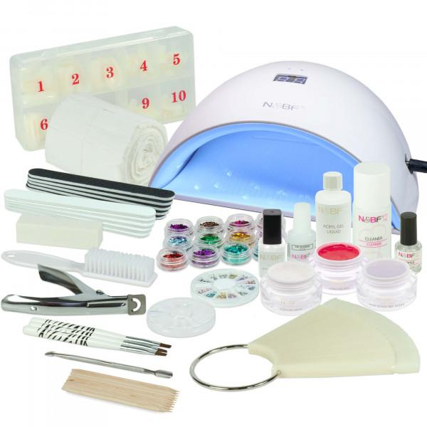 Nails & Beauty Factory Acrylgel Nagelstudio Starter Set Rewig UVA Lichthärtungsgerät Curve Weiss