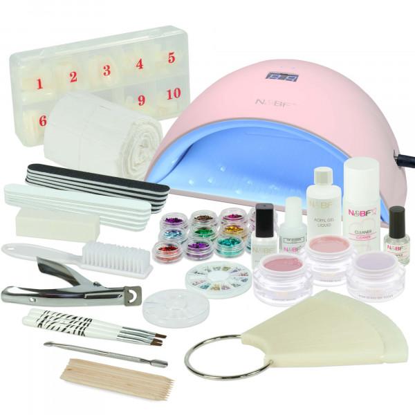 Nails & Beauty Factory Acrylgel Nagelstudio Starter Set Naro UVA Lichthärtungsgerät Curve Pink