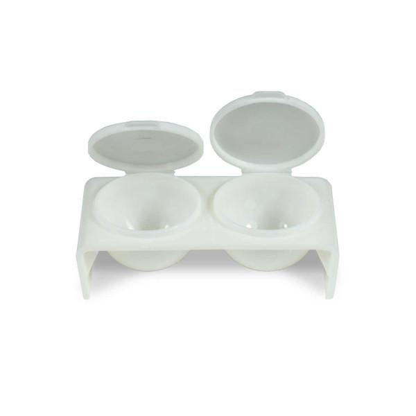 Nails Factory Doppel Dappen Dish weiß für Acryl und Gel offen