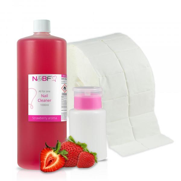 N&BF Nagel Cleaner all for one Erdbeer 1000ml + Zelletten & Dispenser