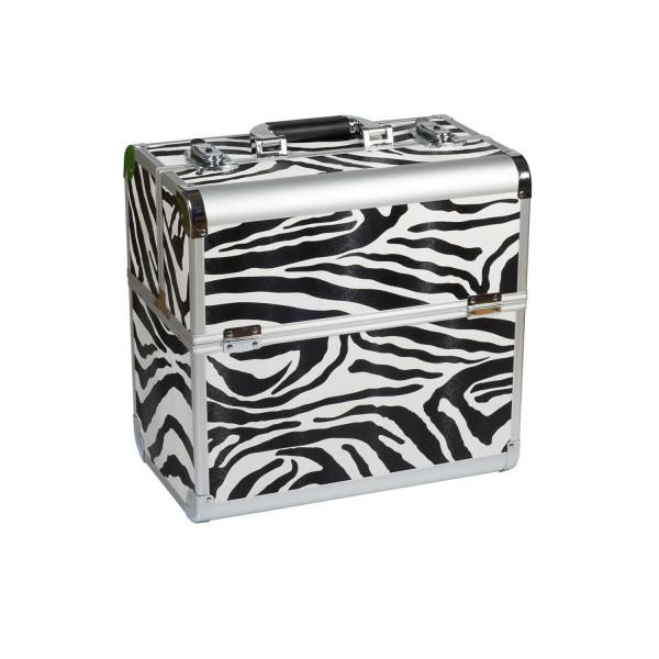 Nails Factory Kosmetikkoffer Alu Zebra Design Rund closed