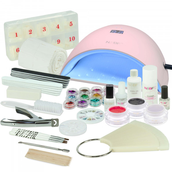 Nails & Beauty Factory Acrylgel Nagelstudio Starter Set RBH UVA Lichthärtungsgerät Curve Pink