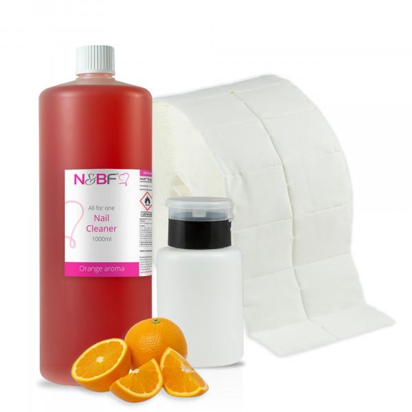 N&BF Nagel Cleaner all for one Orange 1000ml + Zelletten & Dispenser