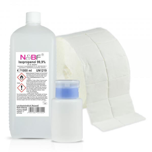 Nails & Beauty Factory Nagelcleaner 99,9% Isopropanol Alkoholanteil kosmetisch rein + 1000 Zelleten & Dispenser Blau