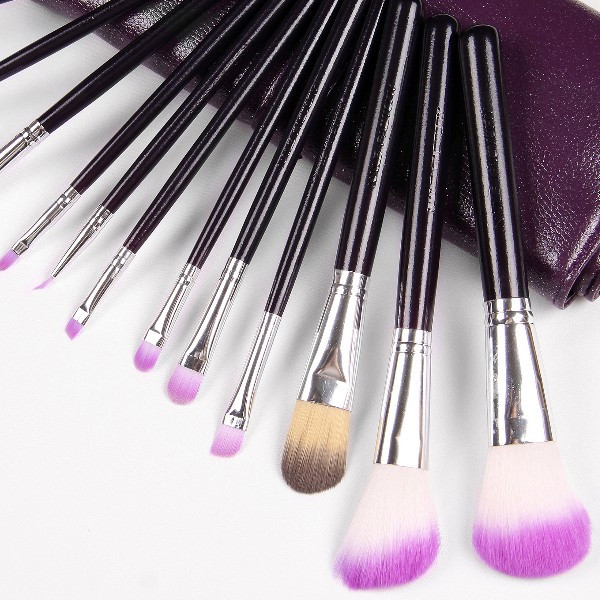 Make-Up Pinsel Set 12teilig, GRATIS Etui LILA, Echthaar, Kosmetik, Schminkset