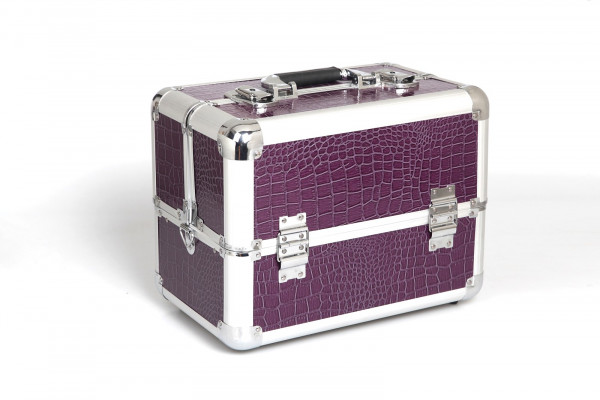 Kosmetikkoffer Kompakt Lila Croco Design Rund
