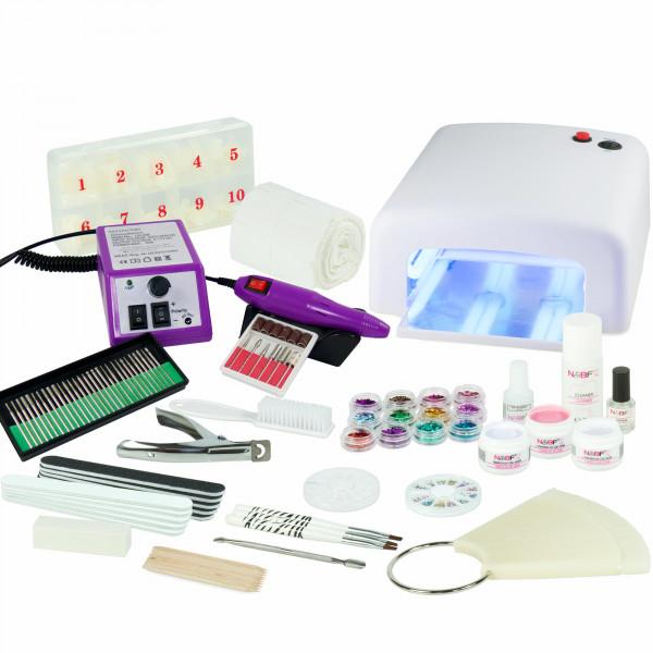 Nails & Beauty Factory UV-Nagelstudio Starter-Set Weiss inkl. Nagelfräser Lila