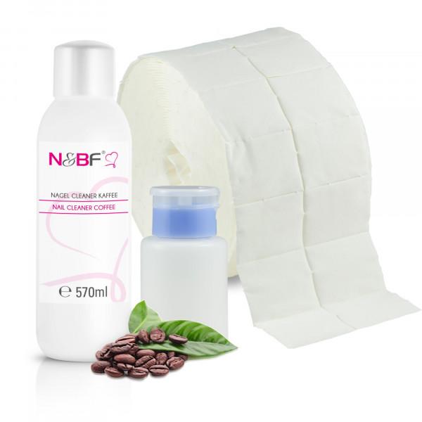 Nagel Cleaner Kaffee Duft 570ml + Zellettenrolle 1000 Stück & Dispenser