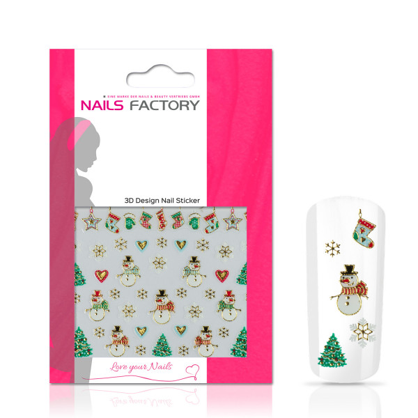 Nails Factory Nagelsticker Christmas green gold Snowman