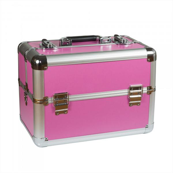 Nails & Beauty Factory Kosmetikkoffer kompakt Pink glattes Design rund zu