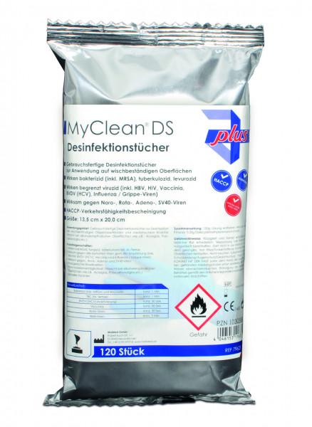 MyClean® DS Desinfektionstücher (neutral) 120 Stück mit Spenderbox
