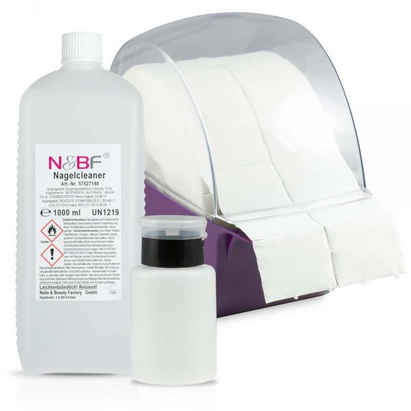 N&BF Nagelcleaner & Zellettenspender Lila (inkl 1000 Zelletten) und Dispenser Pumpfalsche Schwarz Set