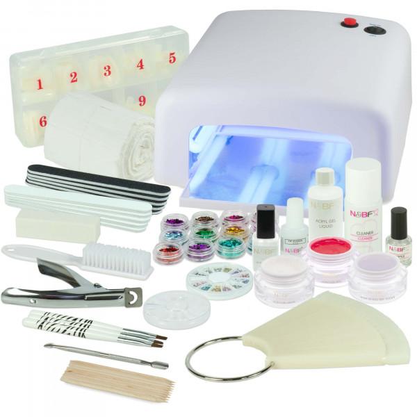 Nails & Beauty Factory Acrylgel Nagelstudio Starter Set Rewig UV Lichthärtungsgerät Eckig Weiss