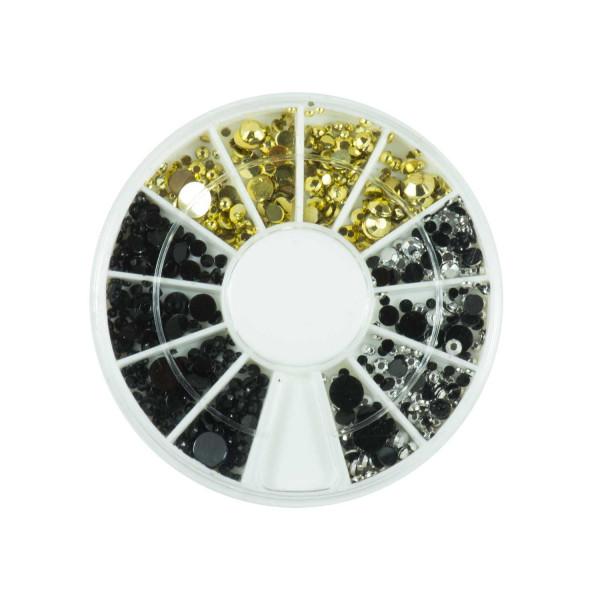 Nails Factory Strassstein Rondell Gold Silber Schwarz Mix 720 Stück