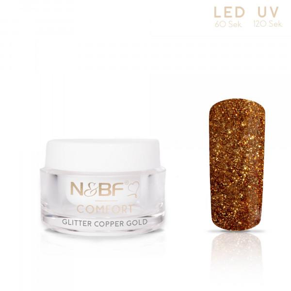 Nails & Beauty Factory Comfort Farbgel Glitter Copper Gold 5ml