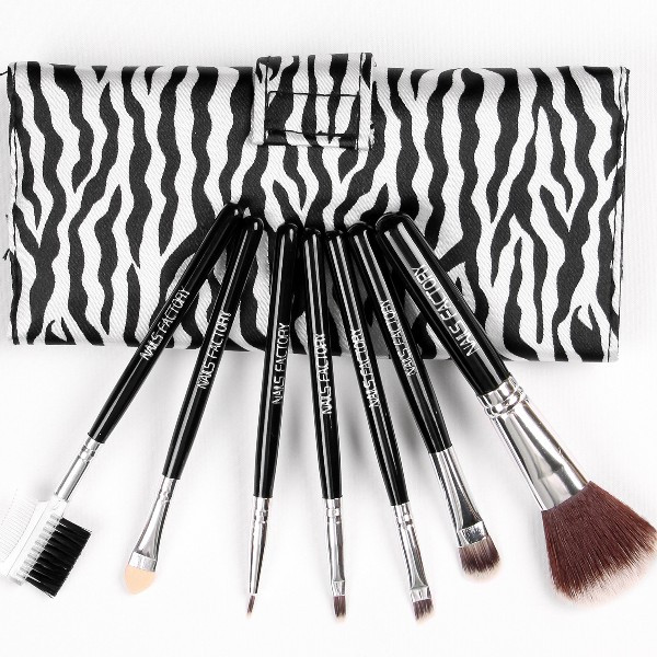 Make-Up Pinsel Set 7teilig Echthaar Griff Schwarz
