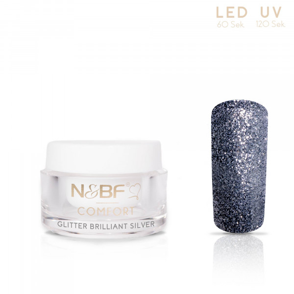 Nails & Beauty Factory Comfort Farbgel Glitter Brilliant Silver 5ml