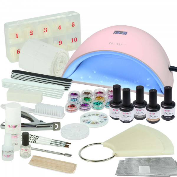 Nails & Beauty Factory Shellac Nagelstudio Starter Set UVA Curve Pink inkl. Glitter