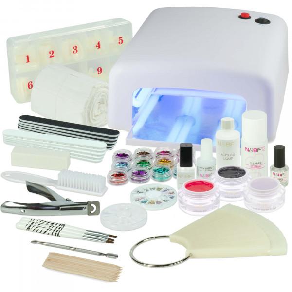 Nails & Beauty Factory Acrylgel Nagelstudio Starter Set RBH UV Lichthärtungsgerät Eckig Weiss