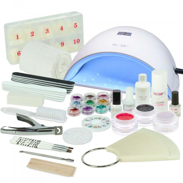 Nails & Beauty Factory Acrylgel Nagelstudio Starter Set RBH UVA Lichthärtungsgerät Curve Weiss