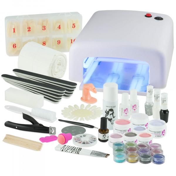 Nails-and-Beauty-Factory-UV-Gel-Nagelstudio-Starter-Set-Weiß-mit-Farbgel-Set-Ice-Cold