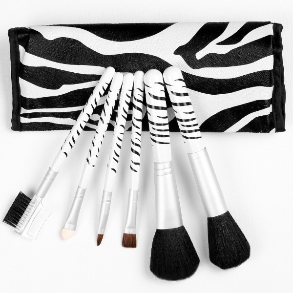 Make-Up Pinsel Echthaar Set 6teilig Griff ZEBRA