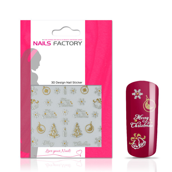 Nails Factory Nagelsticker silver Merry Christmas