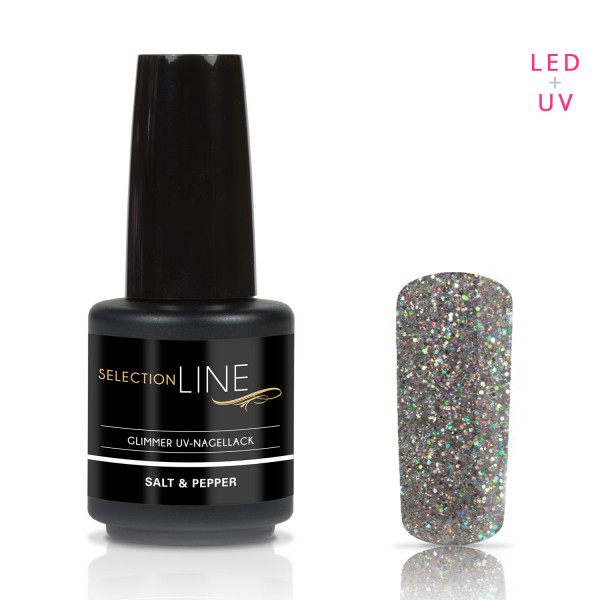 Nails & Beauty Factory Selection Line Glimmer UV Nagellack Salt & Pepper 15ml