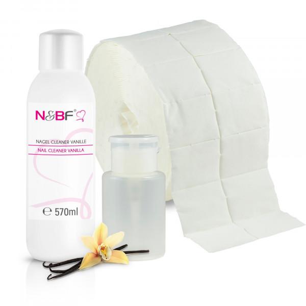 Nagel Cleaner Vanille Duft 570ml + Zellettenrolle 1000 Stück & Dispenser