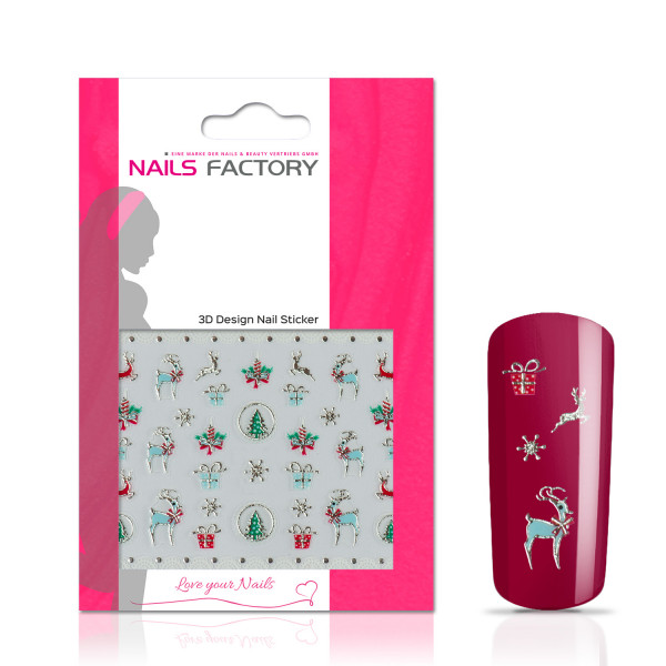 Nails Factory Nagelsticker Christmas silver green bambi