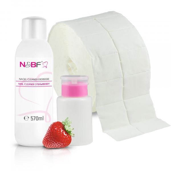 Nagel Cleaner Erdbeer Duft 570ml + Zellettenrolle 1000 Stück & Dispenser