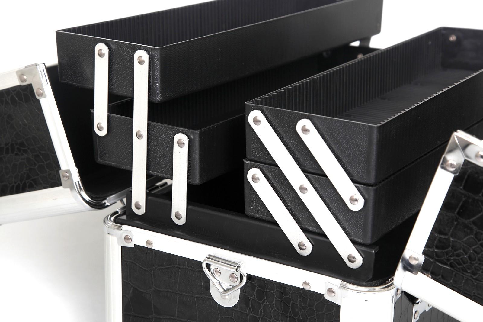 kosmetikkoffer friseurkoffer alukoffer croco schwarz rund ebay. Black Bedroom Furniture Sets. Home Design Ideas